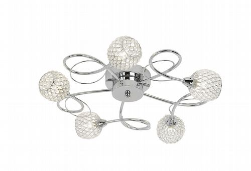 5 Light Flush Fitting In Chrome With Wire & Glass Bead Shade AHERNE-5CH